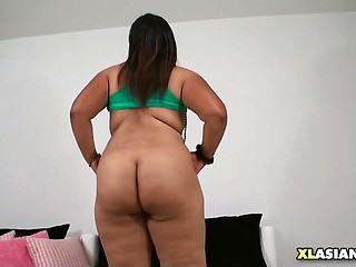 Chubby Asian Shakes Her Soft Body
